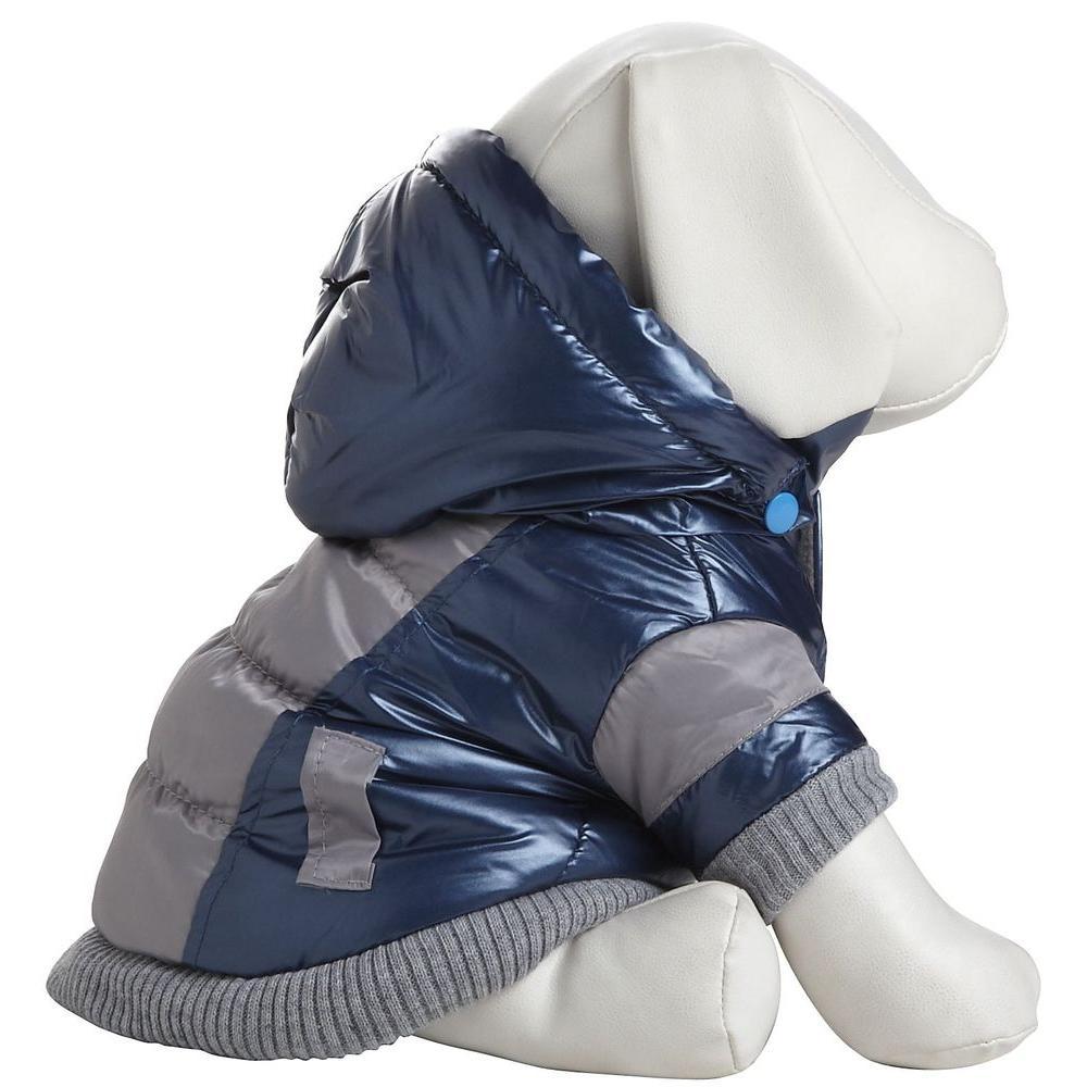 Medium Blue and Beige Aspen Vontage Dog Ski Coat