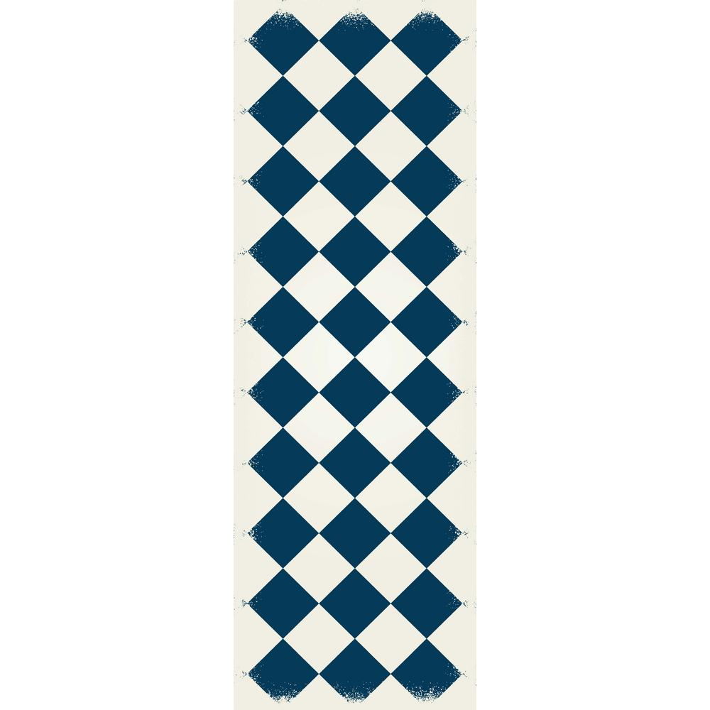 Diamond European Design 2ft x 6ft blue & white Indoor/Outdoor vinyl