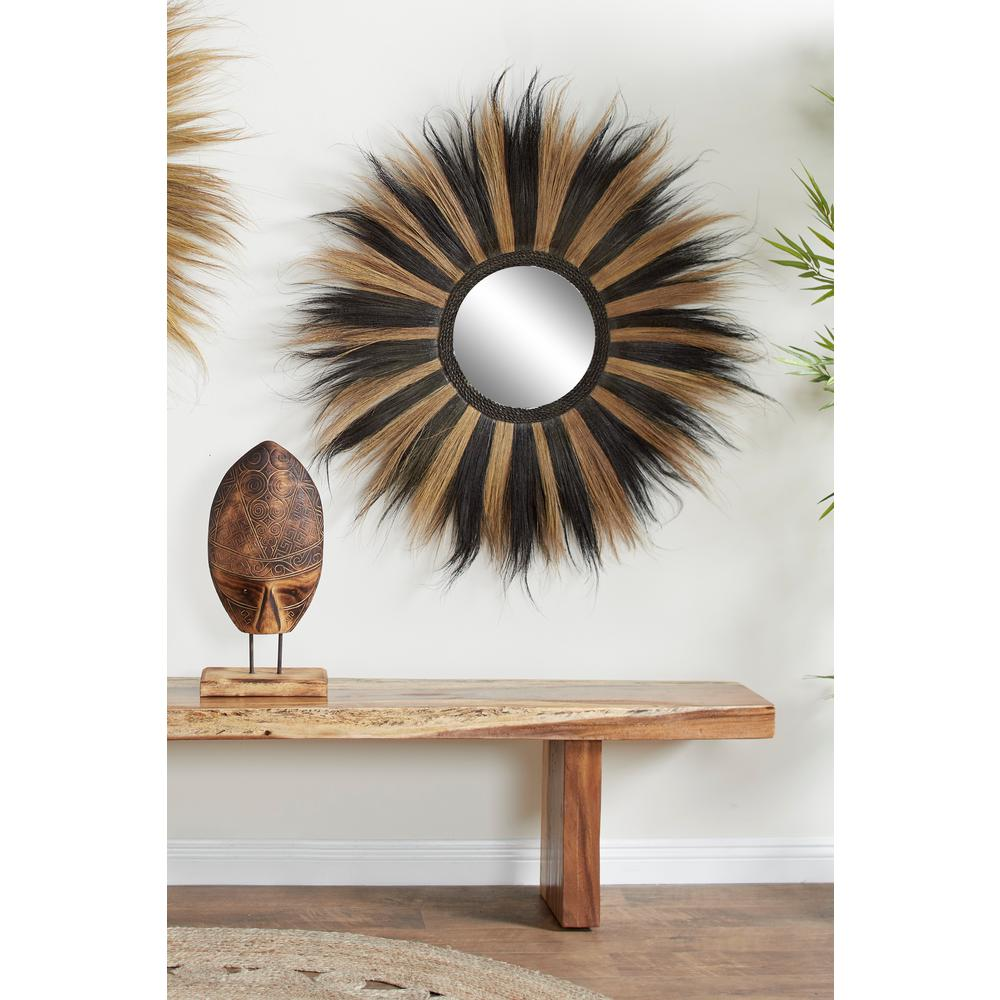 Litton Lane Round Striped Black And Gold Grass Wall Mirror 38986 The Home Depot