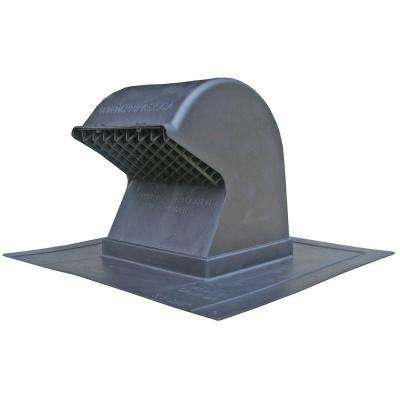 Heavy Duty Flush Mount Black Plastic Gooseneck Roof Exhaust Cap with Removable Screen and Backdraft Damper