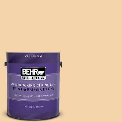 1 gal. #PPU6-08 Pale Honey Ceiling Flat Interior Paint and Primer in One