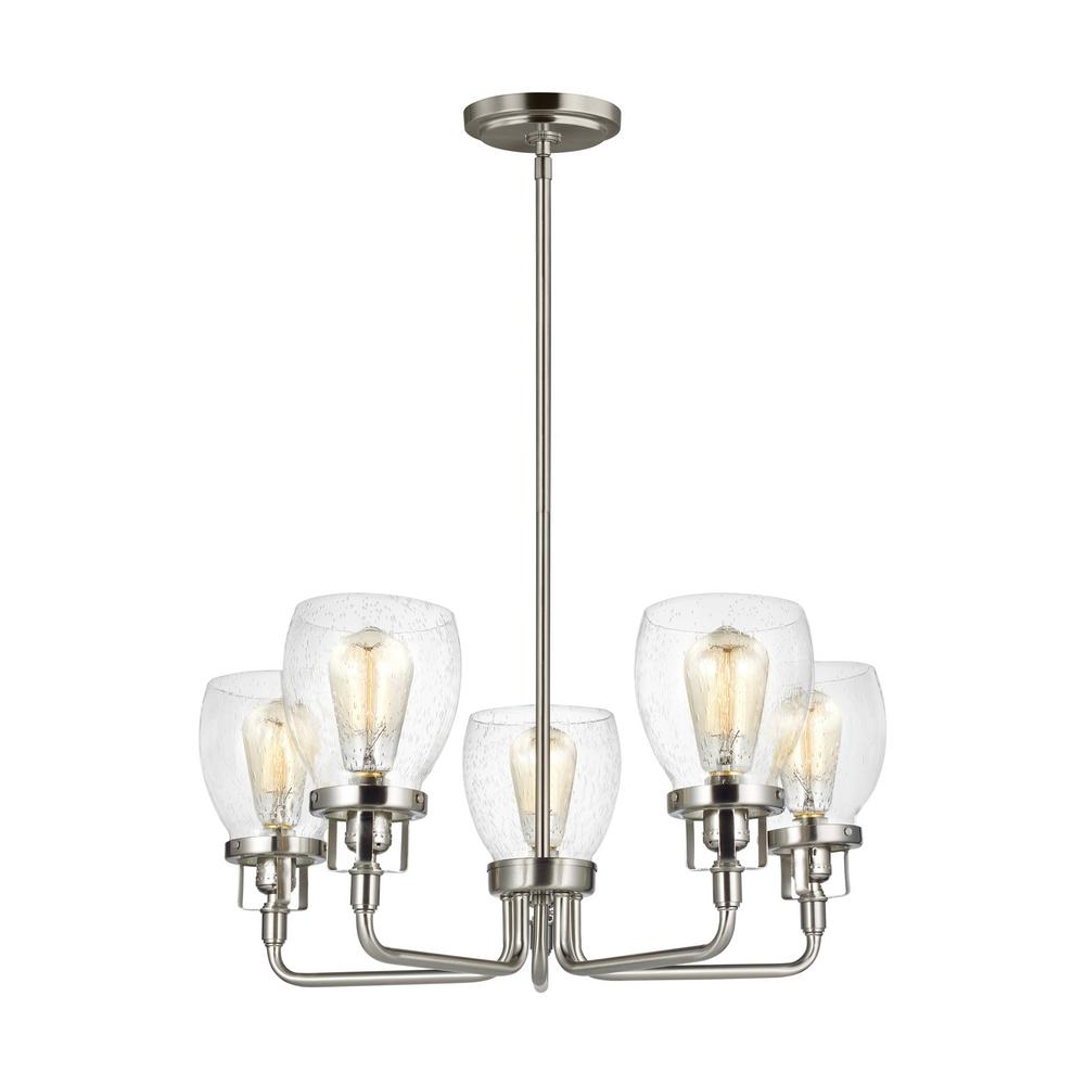 Belton 5-Light Brushed Nickel Chandelier with Clear Seeded Glass Shades