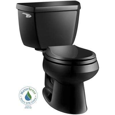 Wellworth Classic 2-Piece 1.28 GPF Round Front Toilet in Black with Brevia Quick Release Toilet Seat