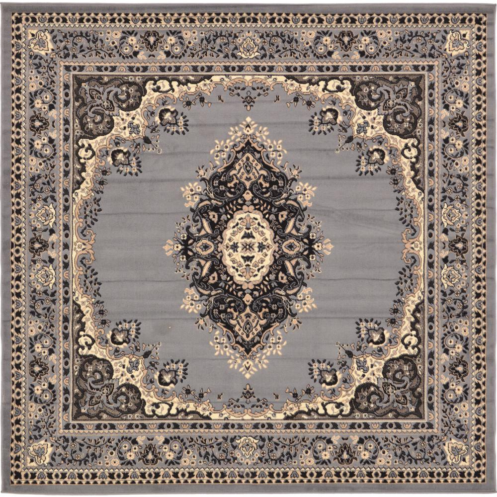 Genial Unique Loom Reza Gray 8u0027 X 8u0027 Square Rug