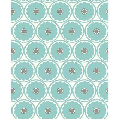 56.4 sq. ft. Buttercup Turquoise Flower Wallpaper
