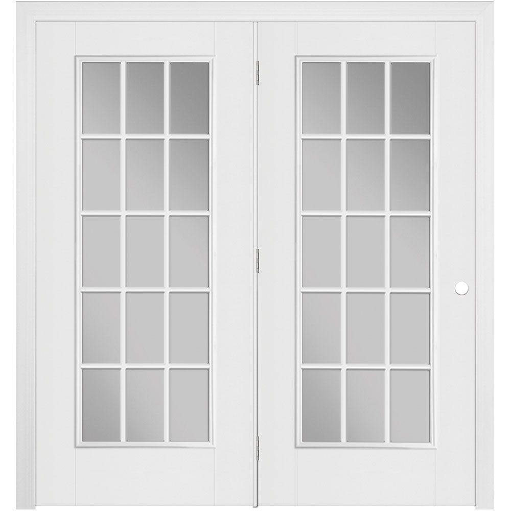 50758127f0c 72 in. x 80 in. Primed White Fiberglass Prehung Right-Hand Inswing Center-Hinged  15-Lite Stationary Patio Door