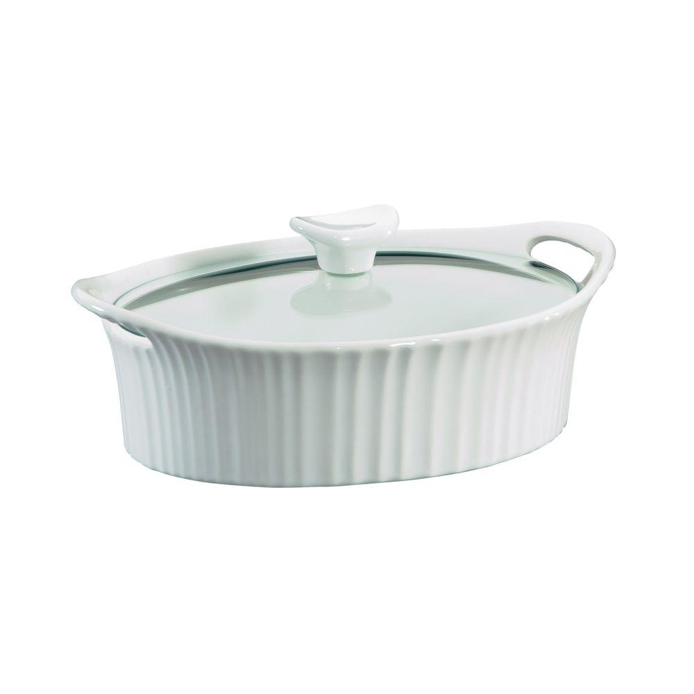 Corningware French White 1.5-Qt Oval Ceramic Casserole Dish with Glass Cover