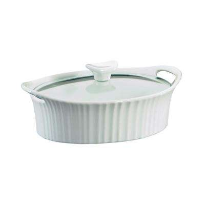 1.5 Qt. Oval Ceramic Casserole Dish with Glass Cover