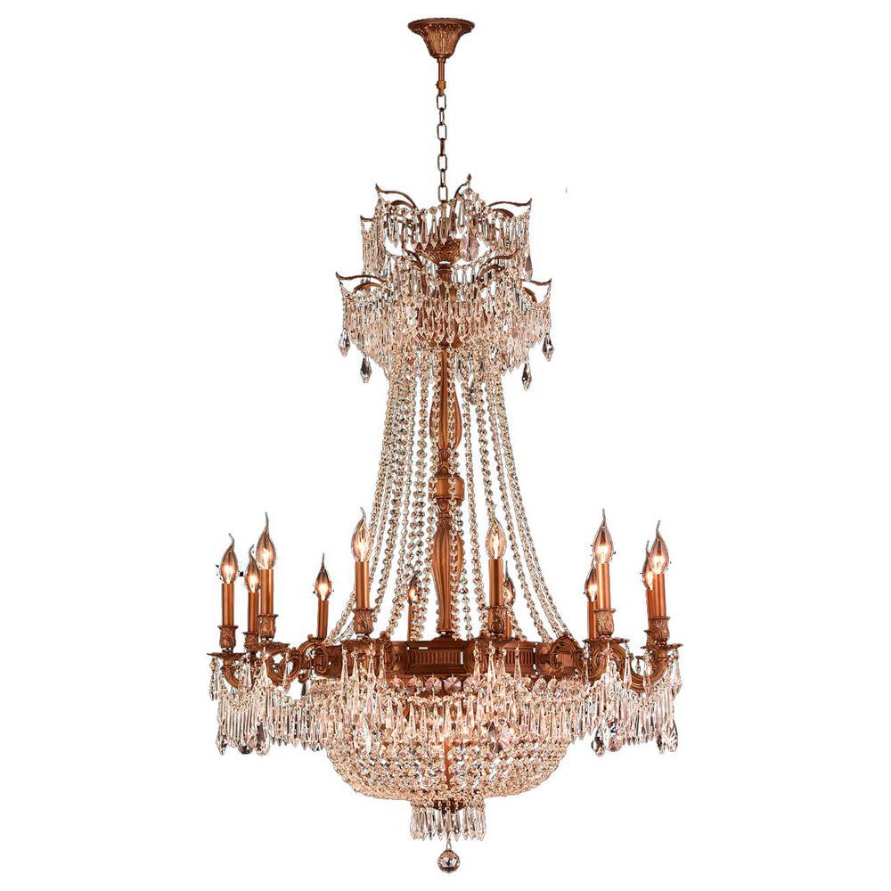 Worldwide lighting winchester 18 light french gold chandelier with worldwide lighting winchester 18 light french gold chandelier with golden teak crystal arubaitofo Gallery