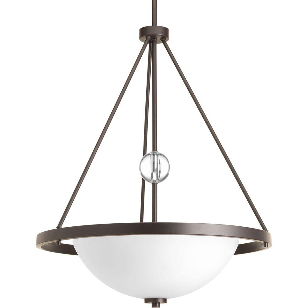 Compass Collection 3-Light Antique Bronze Foyer Pendant with Opal Etched Glass