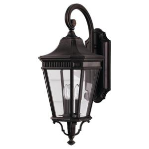 Cotswold Lane 3-Light Grecian Bronze Outdoor 23.75 in. Wall Lantern Sconce
