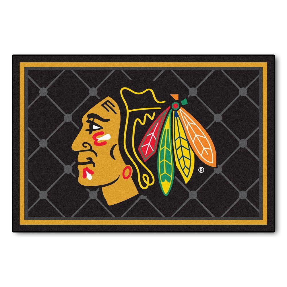 NHL Chicago Blackhawks Black 5 ft. x 8 ft. Indoor Area Rug