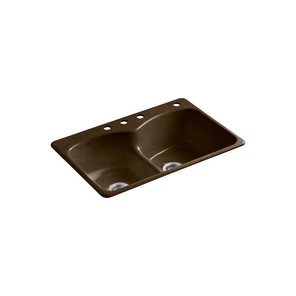 Kohler Langlade Smart Divide Drop In Cast Iron 33 In 4