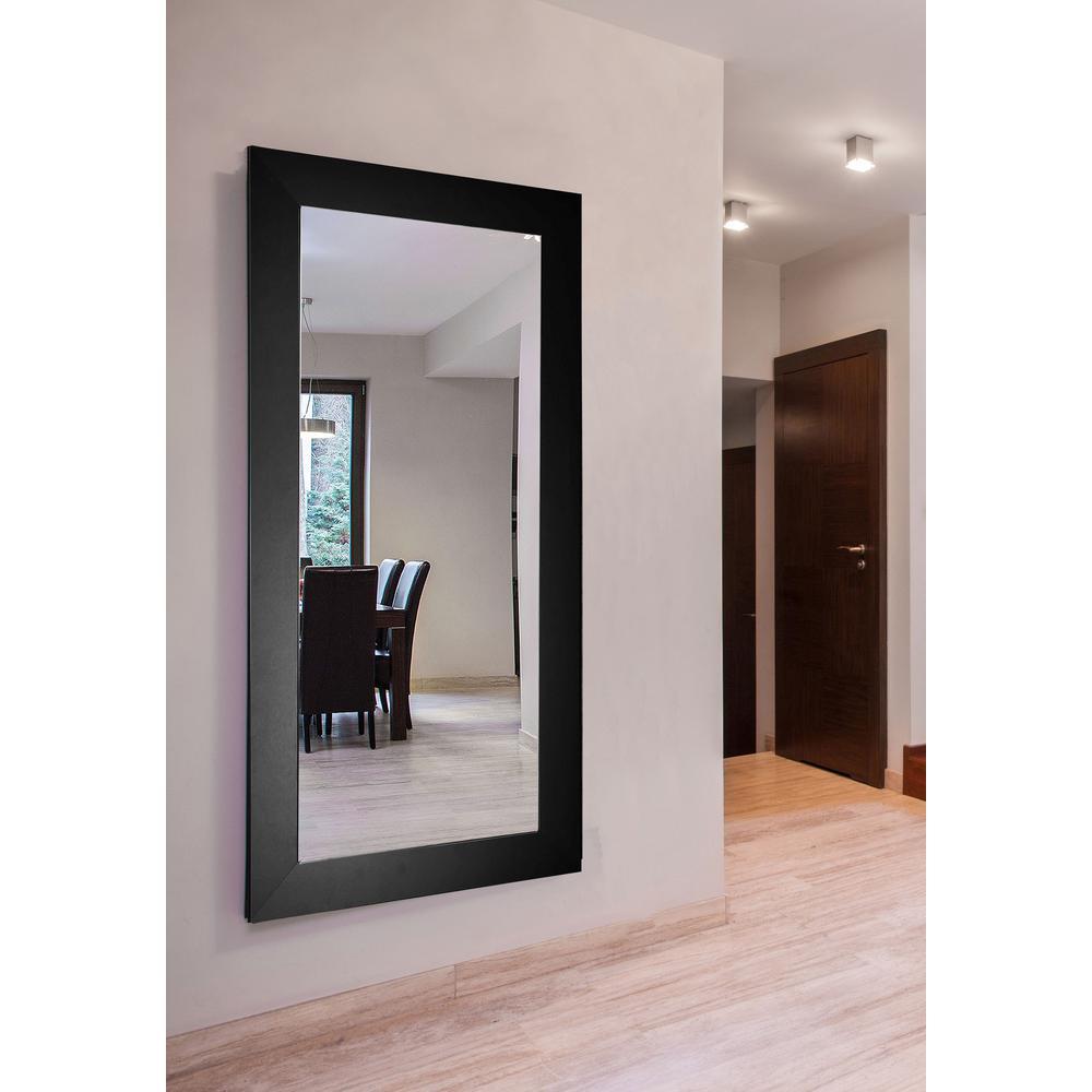 64 in. x 35 in. Black Satin Wide Double Vanity Wall