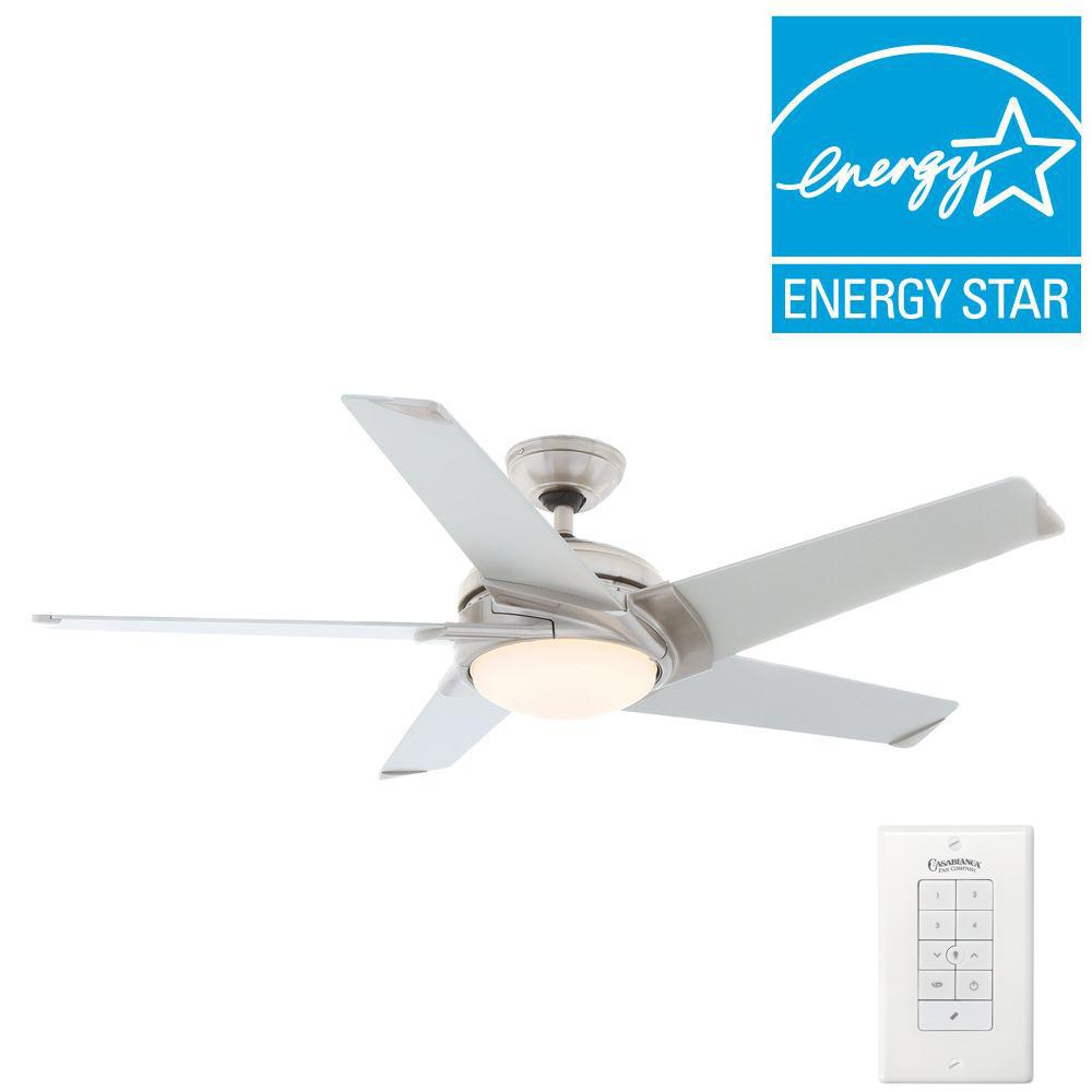 Casablanca ceiling fans lighting the home depot indoor brushed nickel ceiling fan with light kit and universal wall control aloadofball Images