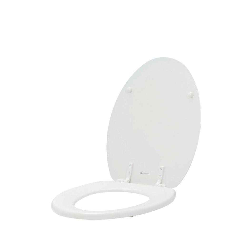 Glacier Bay Lift-Off Elongated Closed Front Toilet Seat in White