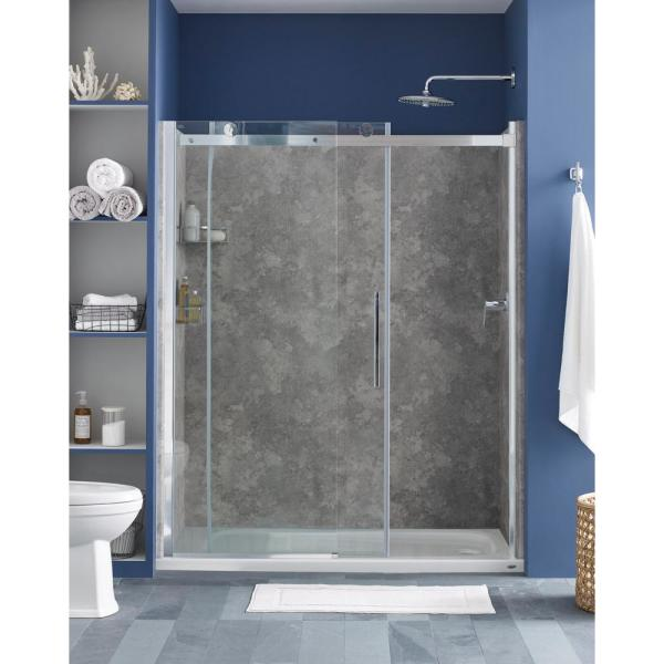 Concrete Smooth Dark Corner SHOWER BACK WALL REAR PANEL SHOWER ALUMINIUM in Tile Effect