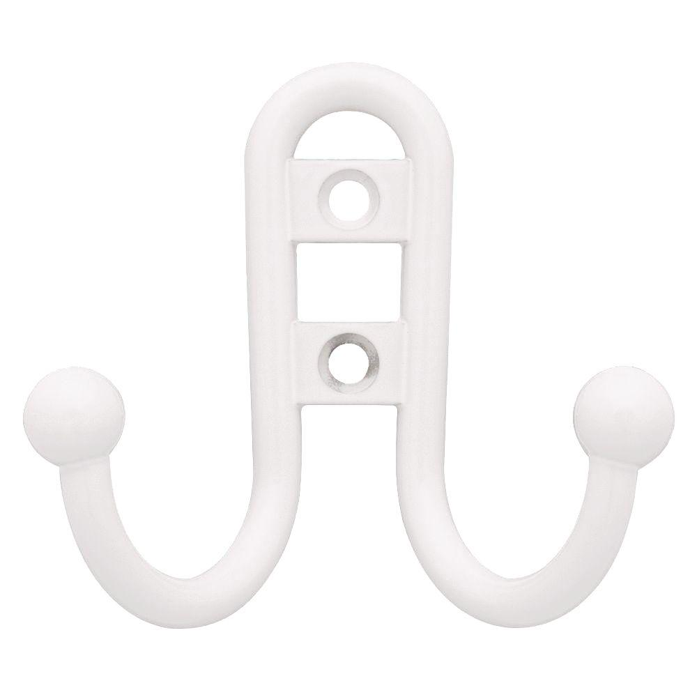 White Ball End Double Wall Hook