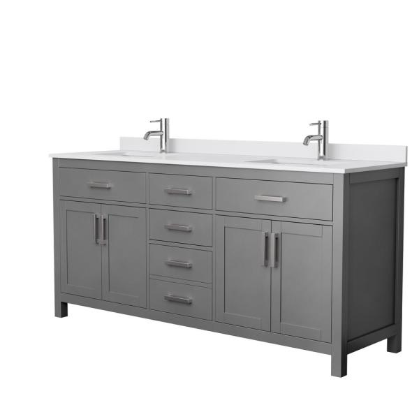 Beckett 72 in. W x 22 in. D Double Bath Vanity in Dark Gray with Cultured Marble Vanity Top in White with White Basins