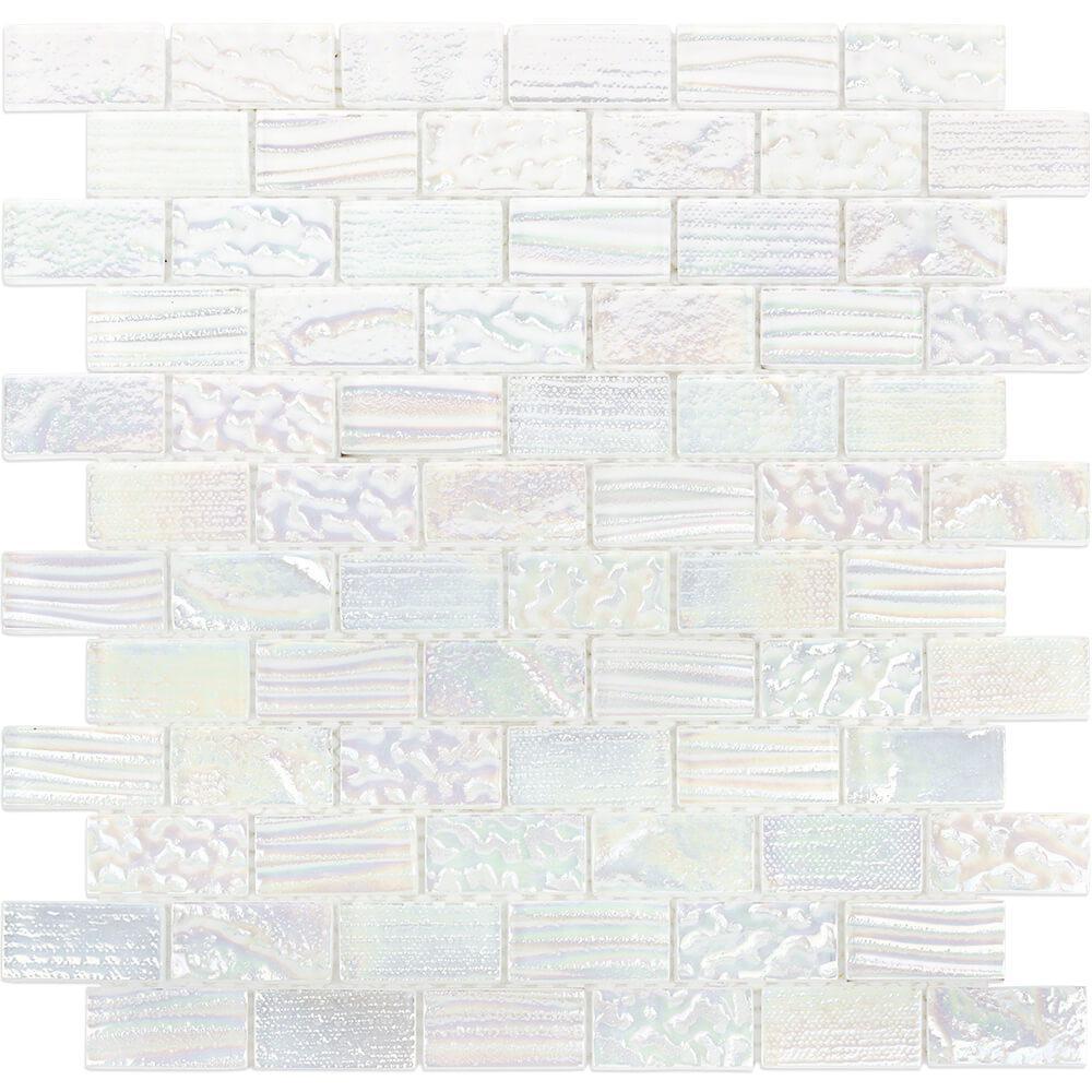 - Ivy Hill Tile Marina Iridescent Bricks White Glass Mosaic Wall