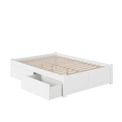 Concord White Full Platform Bed with Flat Panel Foot Board and 2-Urban Bed Drawers