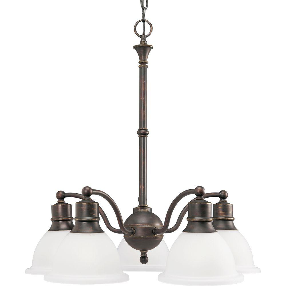Progress Lighting Madison Collection 5 Light Antique Bronze Chandelier With Etched Gl
