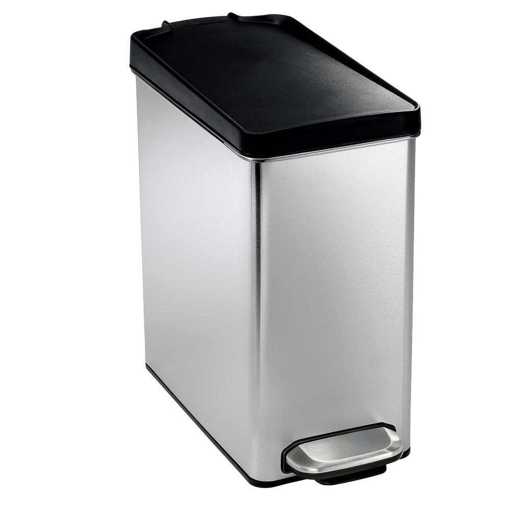 10 liter brushed stainless steel slim profile step on trash can with black plastic - Stainless Steel Kitchen Trash Can