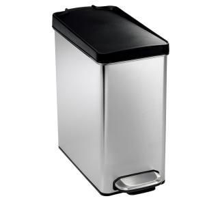 simplehuman 10-Liter Brushed Stainless Steel Slim Profile Step-On Trash Can with Black... by simplehuman