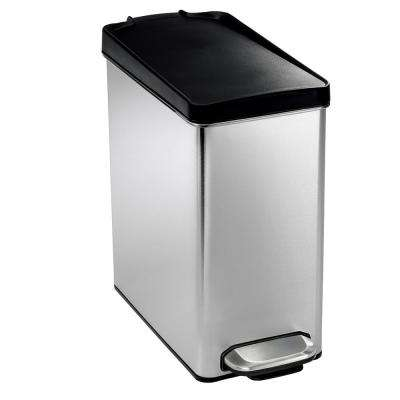 10-Liter Brushed Stainless Steel Slim Profile Step-On Trash Can with Black Plastic Lid
