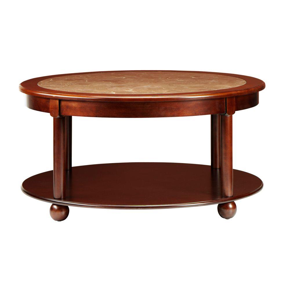 Home Decorators Collection 36 in. W Essex Suffolk Cherry Round Coffee Table
