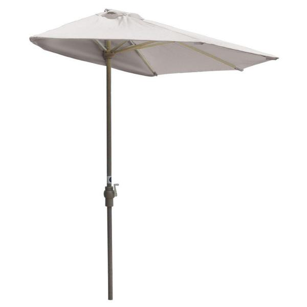 Off-The-Wall Brella 9 ft. Patio Half Umbrella in Natural Sunbrella
