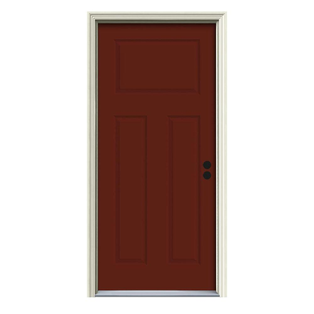JELD-WEN 34 in. x 80 in. 3-Panel Craftsman Mesa Red Painted Steel Prehung Left-Hand Inswing Front Door w/Brickmould