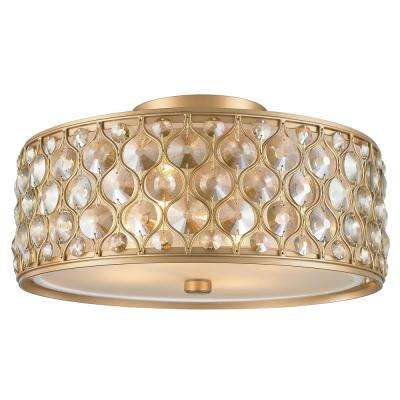 Paris 4-Light Matte Gold with Clear and Golden Teak Crystal Flushmount