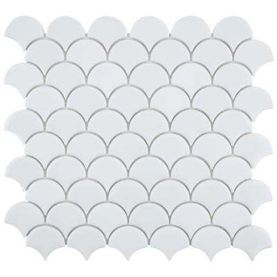 Expressions Scallop White 11-1/4 in. x 12 in. x 7 mm Glass Mosaic Tile