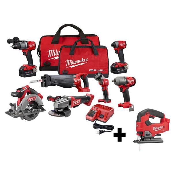 M18 FUEL 18-Volt Lithium-Ion Brushless Cordless Combo Kit (7-Tool) with Two 5.0 Ah Batteries and M18 FUEL Jigsaw