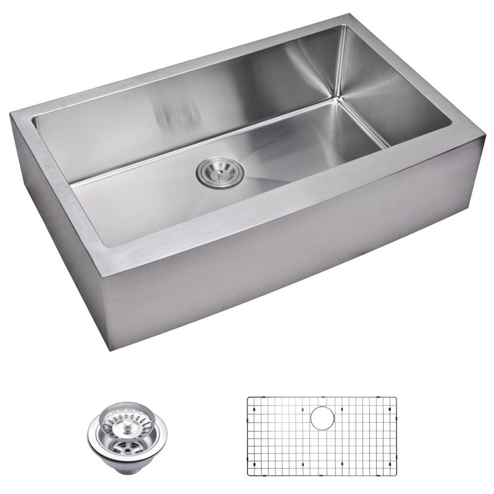Water Creation Farmhouse Apron Front Small Radius Stainless Steel 36 in. Single Basin Kitchen Sink with Strainer and Grid in Satin