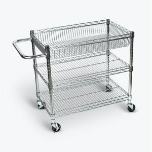 Luxor Large Wire 30 inch W x 18 inch D x 30 inch H Utility Cart Chrome Plated Steel Finish by Luxor