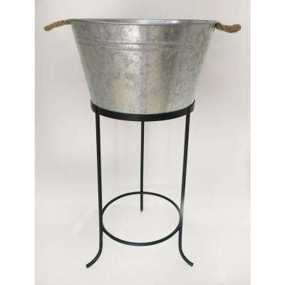 32 in. Galvanized Metal Outdoor Patio Ice Bucket with Stand