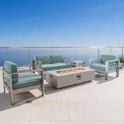 Cape Coral Silver 5-Piece Metal Patio Fire Pit Conversation Set with Canvas Spa Sunbrella Cushions