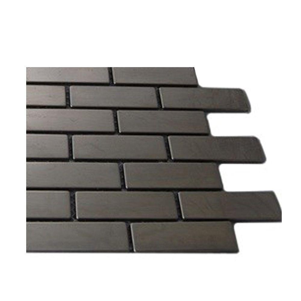 Splashback Tile Stainless Steel Metal Mosaic Floor and Wall Tile - 3 in. x 6 in. x 8 mm Tile Sample