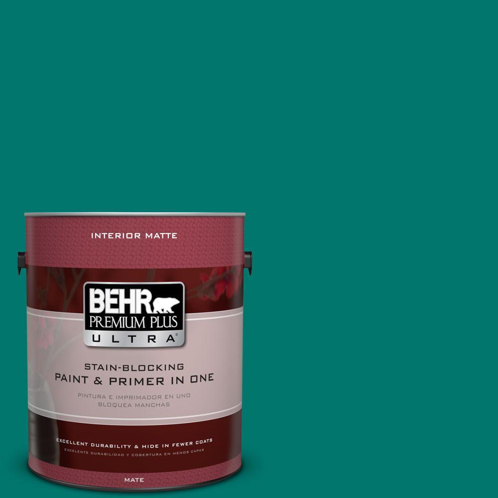 BEHR Premium Plus Ultra 1 gal. #490B-7 Mermaid Harbor Flat/Matte Interior Paint