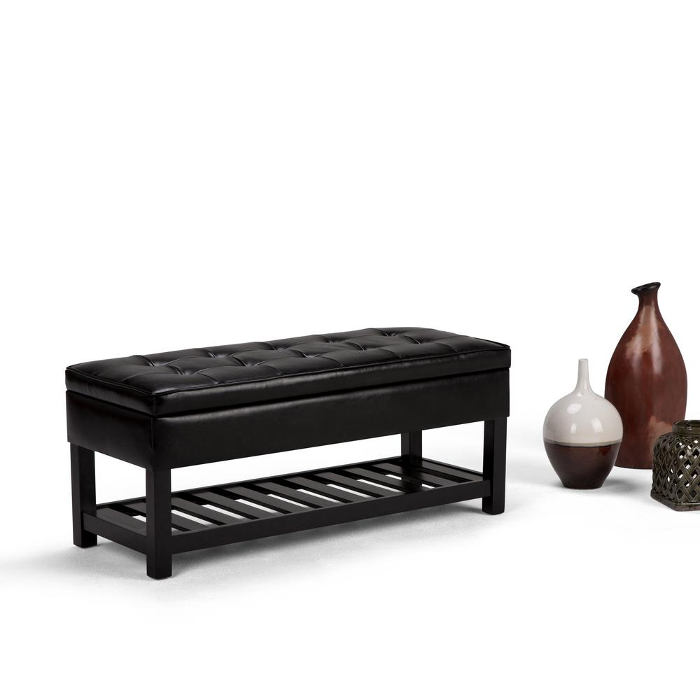 simpli home cosmopolitan midnight black storage bench 10844 | midnight black faux leather with beautiful tufted finish simpli home bedroom benches axccos ottbnch 01 bl 64 1000
