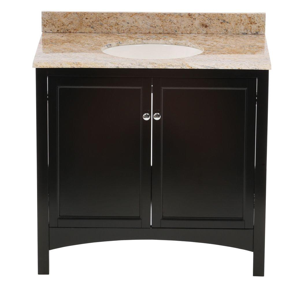Home Decorators Collection Haven 37 in. W x 22 in. D Vanity in Espresso with Vanity Top and Stone Effects in Tuscan Sun was $849.0 now $594.3 (30.0% off)