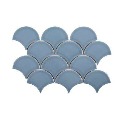 Beverly Blue Fan 8.75 in. x 13 in. x 8 mm Ceramic Mosaic Tile