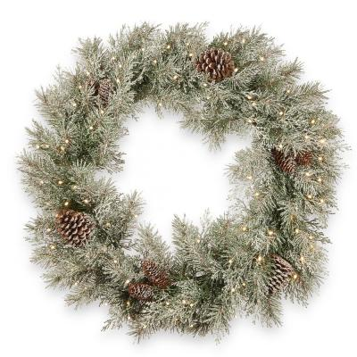 30 in. Feel Real Frosted Mountain Spruce Wreath with Cones and 100 Warm White Battery Operated LED Lights with Timer