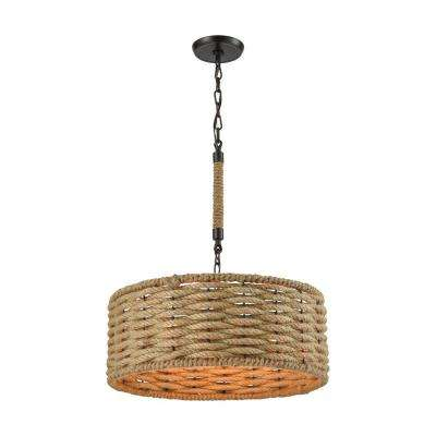 Weaverton 3-Light Oil Rubbed Bronze Chandelier With Wrapped Rope Shade