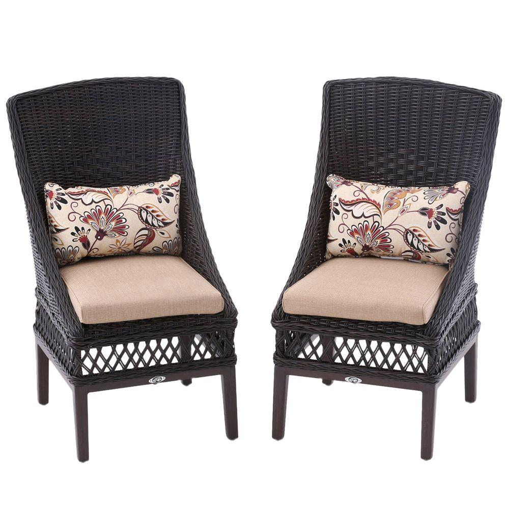 H&ton Bay Woodbury Wicker Outdoor Patio Dining Chair with Textured Sand Cushion (2-Pack  sc 1 st  The Home Depot : dining chairs wicker - Cheerinfomania.Com