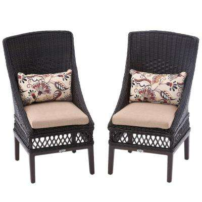 Woodbury Wicker Outdoor Patio Dining Chair with Textured Sand Cushion (2-Pack)