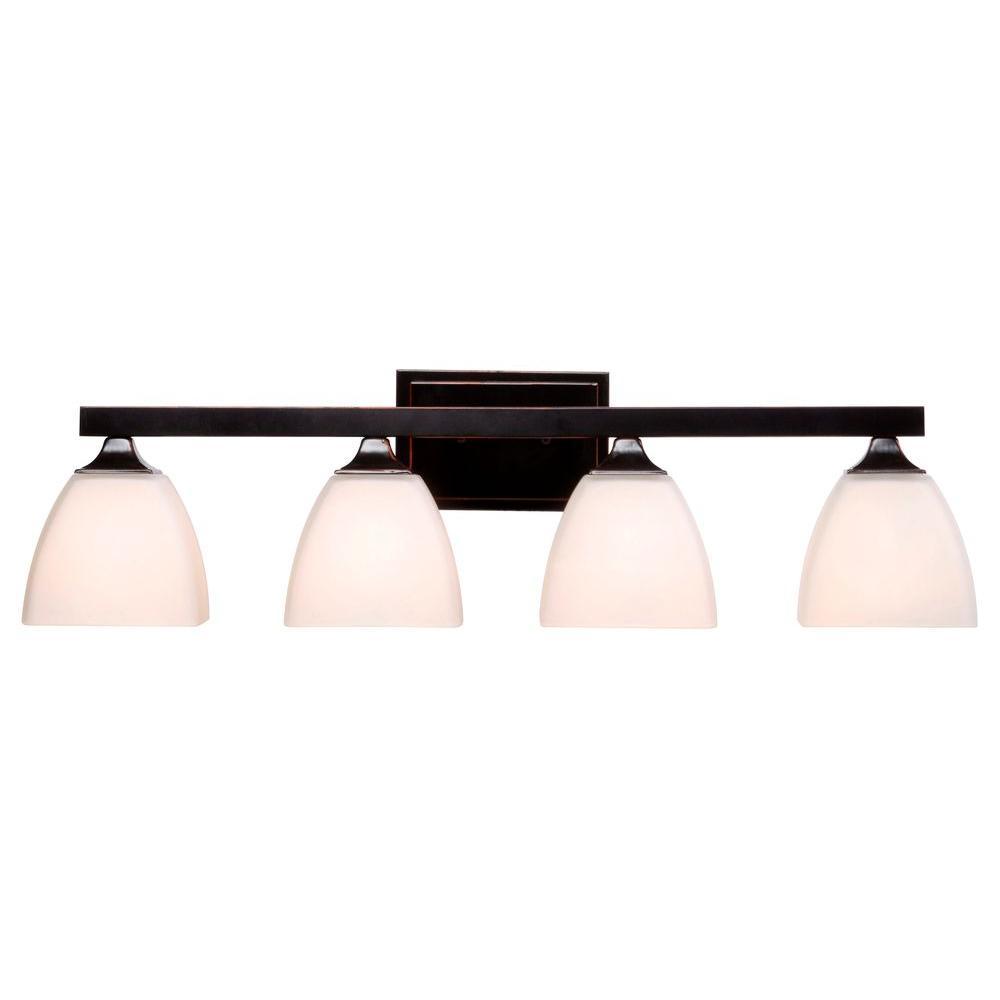 Kenroy Bathroom Vanity Light: Kenroy Home Helix 4-Light Bronze Vanity Light-93227ORB
