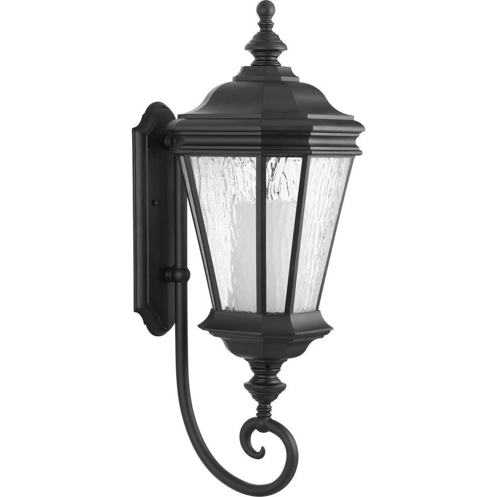 Crawford Collection 1-Light Medium Outdoor Black Wall Lantern